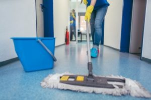 commercial cleaners mopping